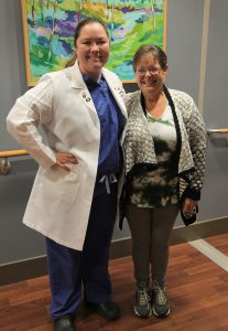 Yvette with Dr. Renee Hilton at Augusta University Health